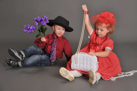 boy and girl in retro style in the studio Stock Photo - 13731983
