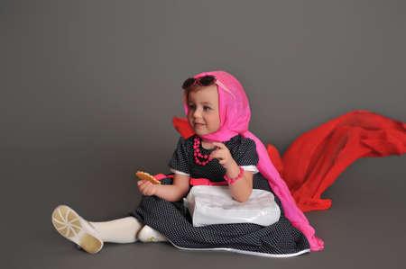 Elegant old-fashioned dressed little girl Stock Photo - 13731261