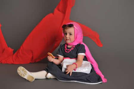 Elegant old-fashioned dressed little girl  Stock Photo - 13731263