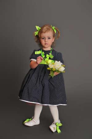 Elegant old-fashioned dressed little girl  photo