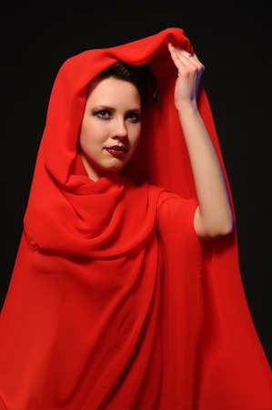 Lady in red face portrait  photo