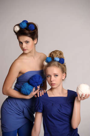 Fashion girls in knitting style photo