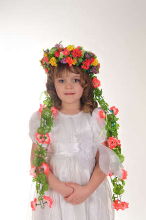 girl in the ukrainian national wreath photo