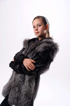 males only: girl in a fur coat Stock Photo