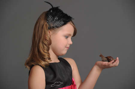 girl with big african snail photo