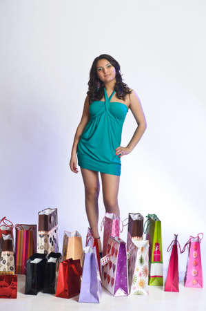 young woman with lots of shopping Stock Photo - 10509844