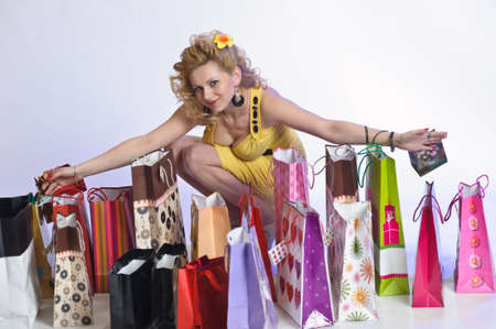 young woman with lots of shopping photo