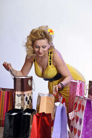 young woman with lots of shopping Stock Photo - 10509865