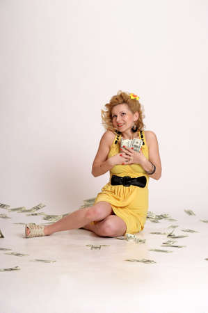 young woman with dollars photo