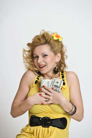 young woman with dollars Stock Photo - 10509861