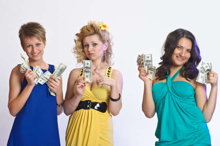 girls with money  in their hands Stock Photo - 10582213