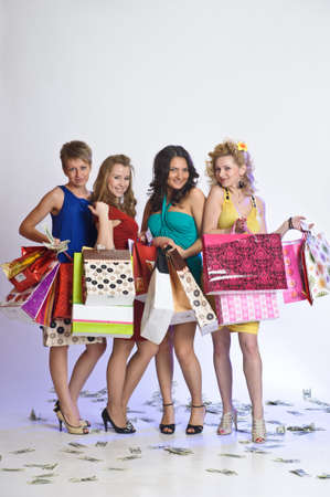 four friends after shopping Stock Photo - 10509782