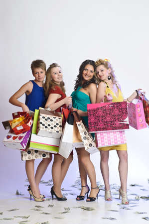 gift spending: four friends after shopping