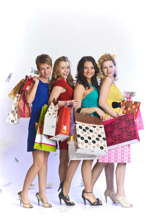 four friends after shopping Stock Photo - 10509777