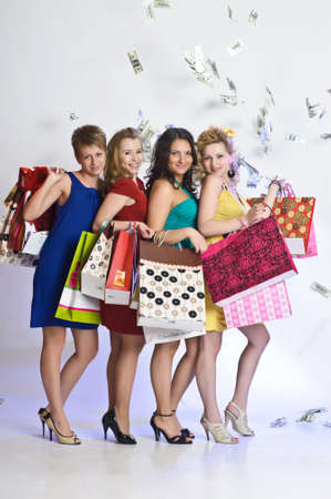 four friends after shopping Stock Photo - 10509780