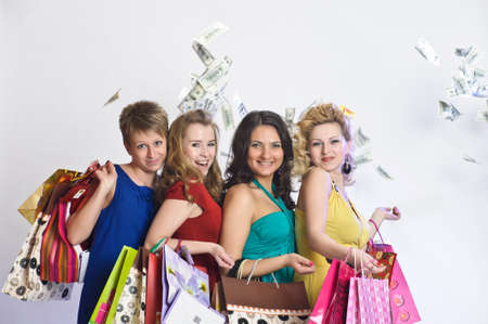four friends after shopping photo