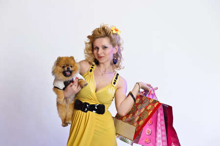 girl with shopping and a Dog Stock Photo - 10501683