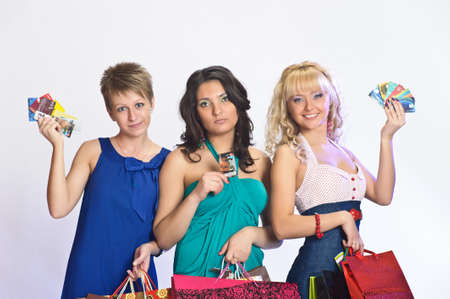 three friends after shopping Stock Photo - 10509694
