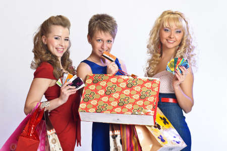 blonde minority: three friends after shopping