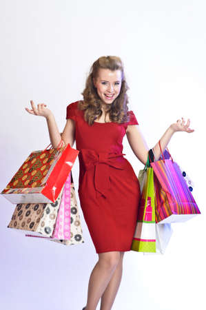 happy girl with shopping photo