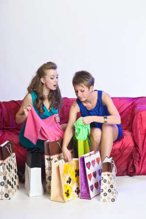 Two girl friends with shopping bags Stock Photo - 10510069