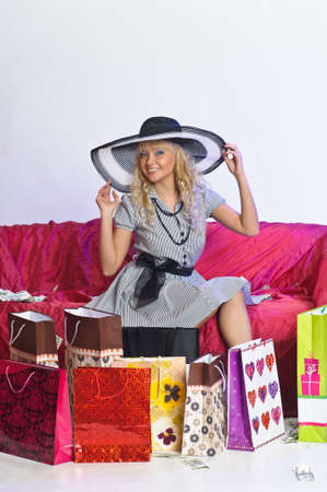 The young woman with purchases  photo