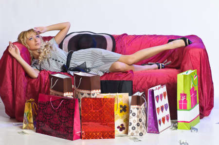 girl resting after shopping photo