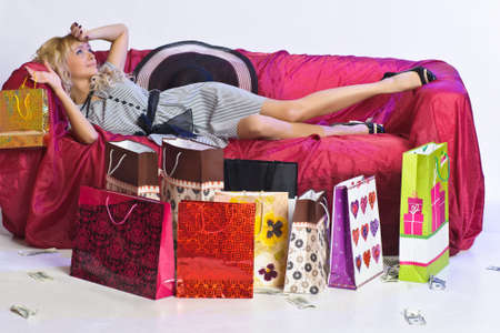 girl resting after shopping Stock Photo - 9581019