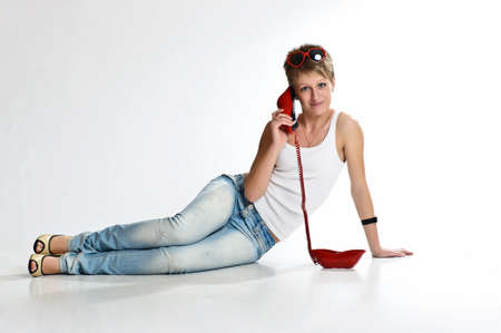 The girl  speaking by phone Stock Photo - 10243466