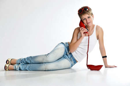 The girl  speaking by phone Stock Photo - 10326959