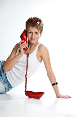 The girl  speaking by phone Stock Photo - 10326960