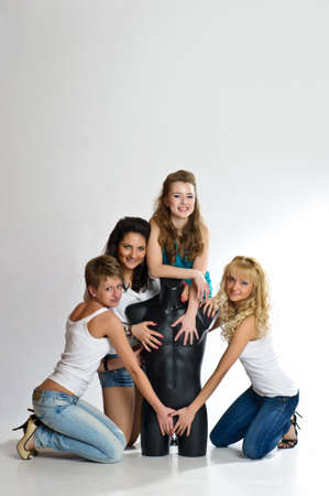 four girls and man s dummy photo