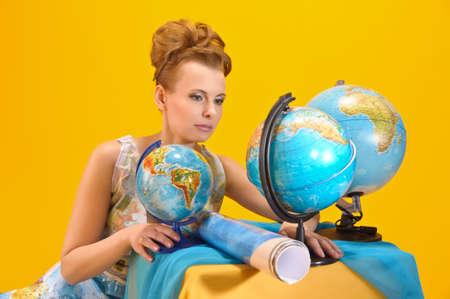 online internet presence: World girl Stock Photo