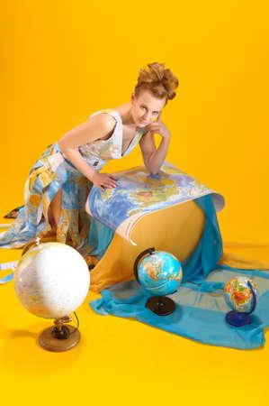 jetsetter: World girl Stock Photo