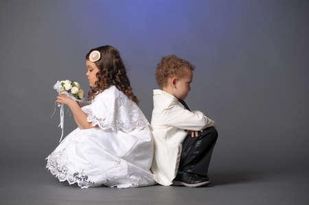 playful behaviour: Bride and groom  Stock Photo