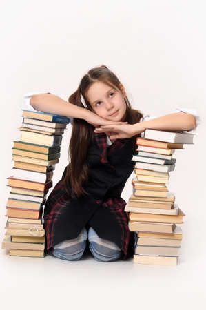 educations: School girl with Books Stock Photo