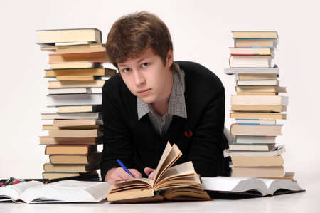 schoolwork: The student with a considerable quantity of books