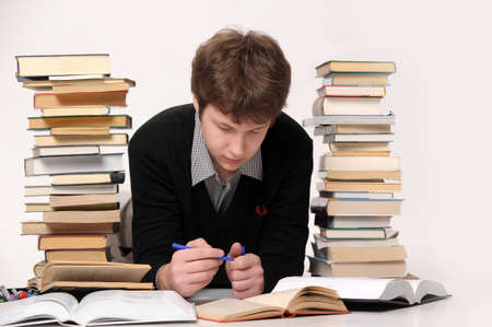 failing: The student with a considerable quantity of books