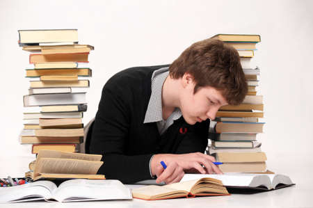 The student with a considerable quantity of books Stock Photo - 10243956
