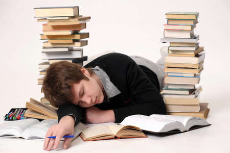 The student with a considerable quantity of books Stock Photo - 10243957