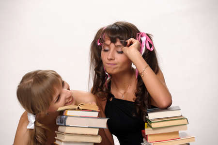 Students tired after studying photo