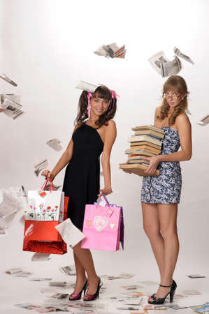 book bag: Shopping girl and a student with books