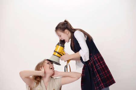 girl screaming in speaker Stock Photo - 12009804