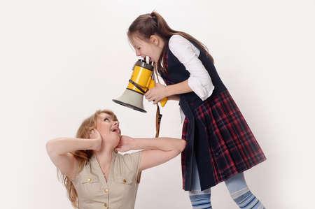 girl screaming in speaker Stock Photo - 12009800