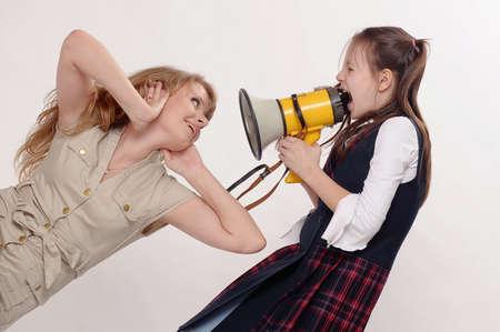 girl screaming in speaker Stock Photo - 12018774