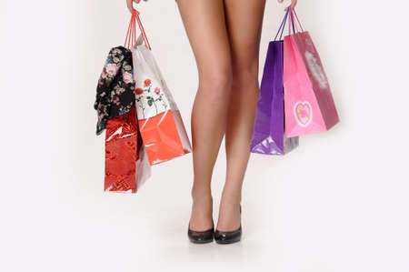 feet girls with shopping bags photo
