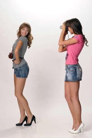 girls with retro cameras Stock Photo - 10077238