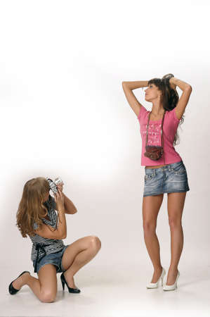 girls with retro cameras Stock Photo - 10077240