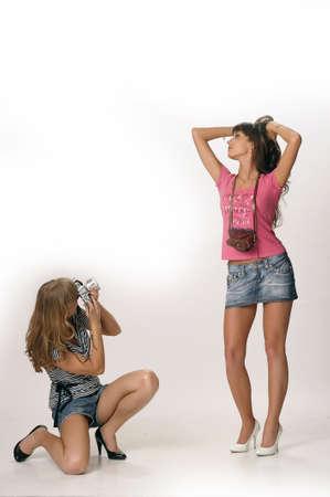 girls with retro cameras photo