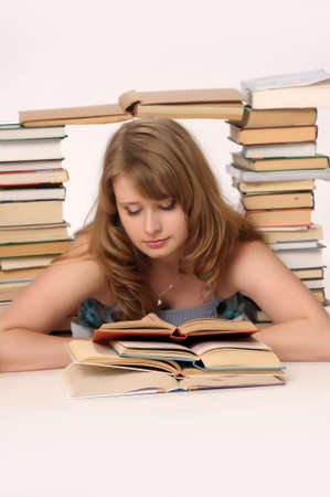 girl surrounded by books photo